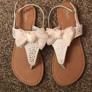 NWOT Candies White Sequin Bow Sandals - Size 8